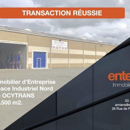 ENTERPRISE IMMOBILIER D'ENTREPRISE installe OCYTRANS sur 2.500 m2 à Amiens